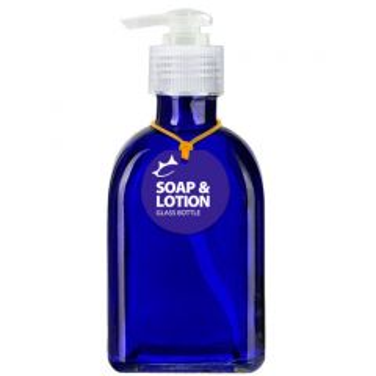 Couronne Soap or Lotion 8.5oz Cobalt Blue Roma Glass Bottle
